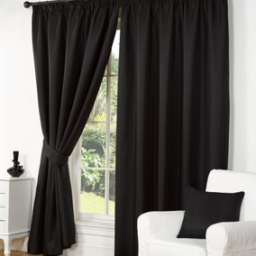 Wenden Black Pencil Pleat Curtains