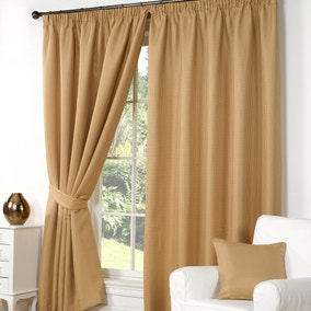 Wenden Gold Pencil Pleat Curtains