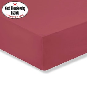 Non Iron Cranberry Fitted Sheet