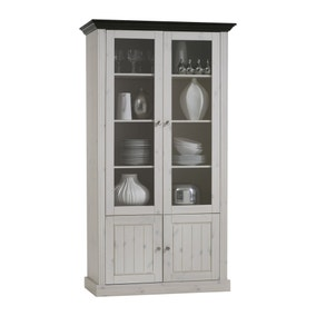 Monaco White Glazed Wide Display Unit. Loz_exclusively_online