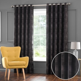 Amherst Charcoal Jacquard Eyelet Curtains