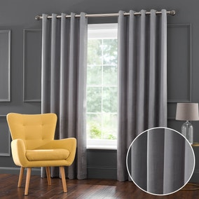 Amherst Silver Jacquard Eyelet Curtains