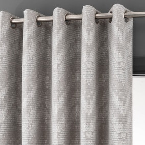 Barbary Dove Grey Jacquard Eyelet Curtains