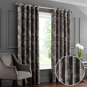 Bramham Taupe Embroidered Eyelet Curtains