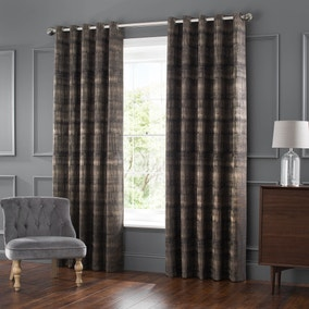 Ekon Charcoal Jacquard Eyelet Curtains