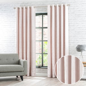 Eltham Blush Jacquard Eyelet Curtains