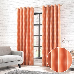 Fiji Orange Jacquard Eyelet Curtains