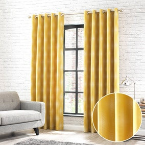 Fiji Yellow Jacquard Eyelet Curtains