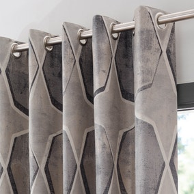 Franklin Pewter Jacquard Eyelet Curtains
