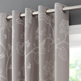 Kiplin Taupe Embroidered Eyelet Curtains