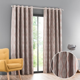 Menlo Orange Jacquard Eyelet Curtains