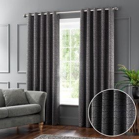 Newby Charcoal Jacquard Eyelet Curtains