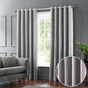 Newby Silver Jacquard Eyelet Curtains