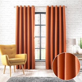 Samaitra Orange Jacquard Eyelet Curtains
