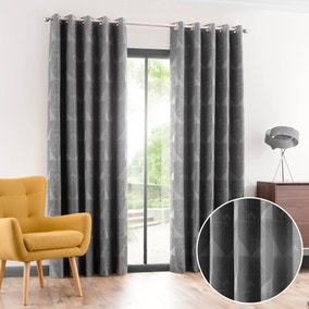 Zander Grey Jacquard Eyelet Curtains
