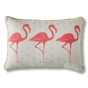 Geo Flamingo Trio Gold Cushion