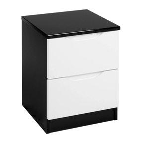 Legato Black and White Gloss 2 Drawer Bedside Table