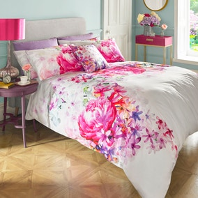Lipsy Bright Peony Digitally Printed 100% Cotton Duvet Cover and Pillowcase Set