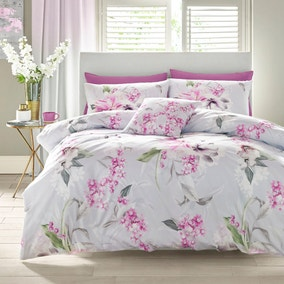 Lipsy Soft Blossom Digitally Printed 100% Cotton Duvet Cover and Pillowcase Set