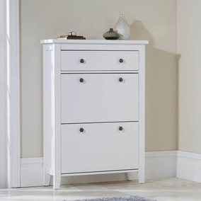 White Tiered Shoe Cabinet