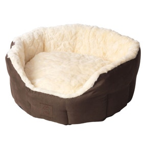House of Paws Chocolate Faux Suede Oval Dog Bed