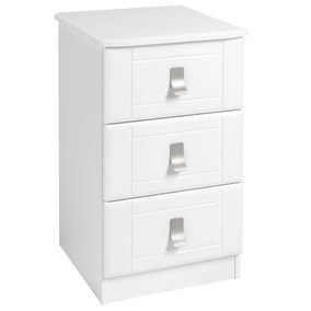 Dolce White 3 Drawer Bedside Table