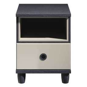 Thea Black 1 Drawer Bedside Table