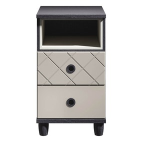 Thea Black 2 Drawer Bedside Table