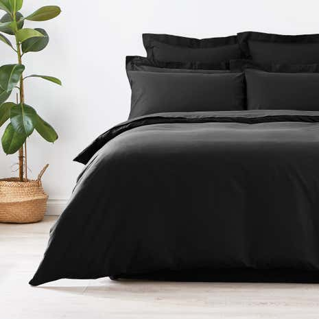 Non Iron Plain Dye Black Duvet Cover