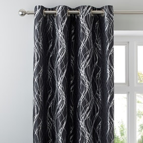Victoria Charcoal Lined Eyelet Curtains