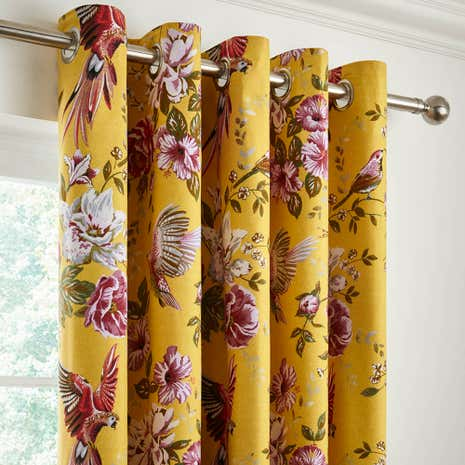 Eliana Yellow Blackout Eyelet Curtains