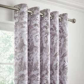 Marble Grey Blackout Eyelet Curtains