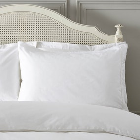 Dorma Plain Dye 300 Thread Count Cotton Percale White Housewife Pillowcase