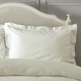 Dorma Plain Dye 300 Thread Count Cotton Percale Cream Oxford Pillowcase