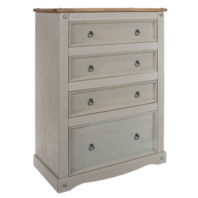 Corona Grey 4 Drawer Wide Chest