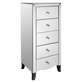 Valentina Mirrored 5 Drawer Chest