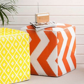 Psychedelia Orange Outdoor Pouffe
