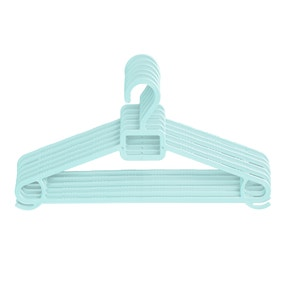 Pack of Six Blue Clothes Hangers