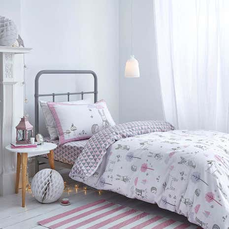 Bianca Cotton Nordic Pink Duvet Cover and Pillowcase Set
