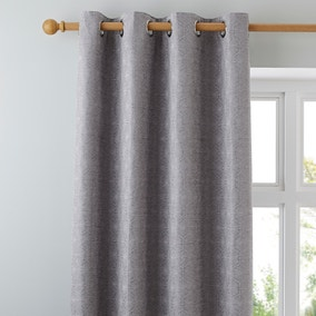 Charm Geo Silver Eyelet Curtains