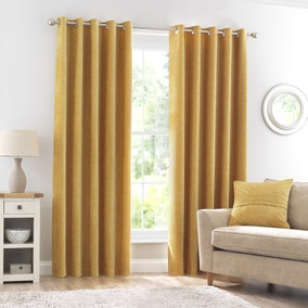 Chenille Ochre Eyelet Curtains