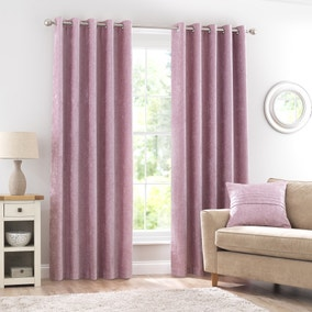 Chenille Blush Eyelet Curtains