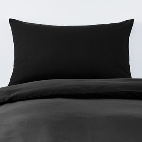 Non Iron Plain Dye Black Housewife Pillowcase Pair