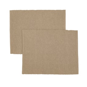 Set Of Two Taupe Ribbed Placemats