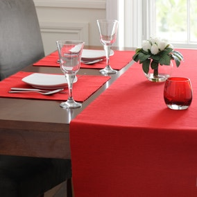 Set Of Two Red Ribbed Placemats