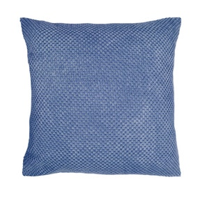 Large Chenille Spot Blue Cushion