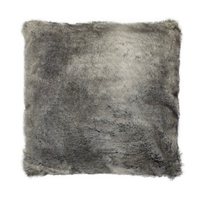 Large Verbier Grey Faux Fur Cushion