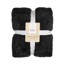 Teddy Bear Black Throw