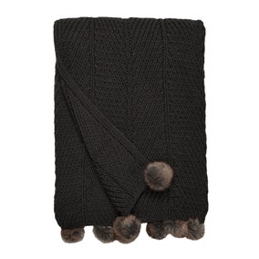 Chunky Knit Pom Pom Charcoal Throw