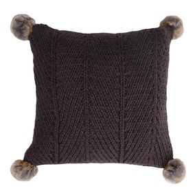 Charcoal Chunky Knit Pom Pom Cushion